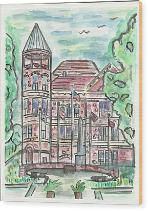 Rock County Courthouse Square Wood Print by Matt Gaudian