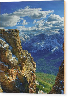 Rock Cut First Snow Rocky Mountain Natl Park Wood Print by Harry Strharsky