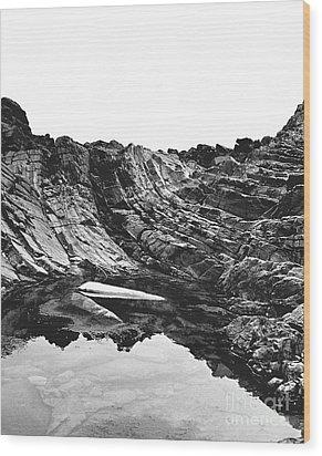 Rock - Detail Wood Print by Rebecca Harman