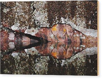 Rock Face Reflected Wood Print