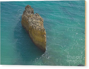 Rock Formation And The Sea In Algarve Wood Print by Angelo DeVal