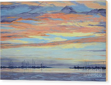 Rock Hall Sunset Wood Print by Cindy Roesinger