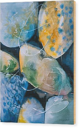 Wood Print featuring the painting Rock In Water by Allison Ashton