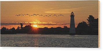 Rock Island Lighthouse Wood Print by Lori Deiter