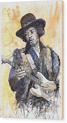 Rock Jimi Hendrix 01 Wood Print by Yuriy  Shevchuk