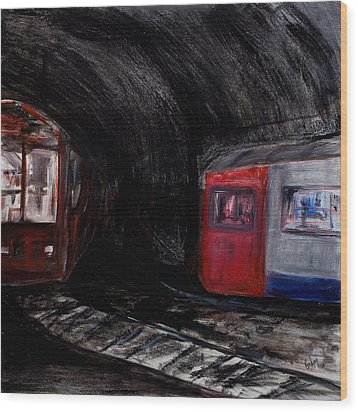 Rock Me London Underground Wood Print by Emma Kinani