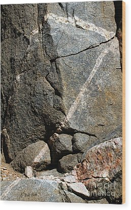 Rock Patterns-signed-#9753 Wood Print