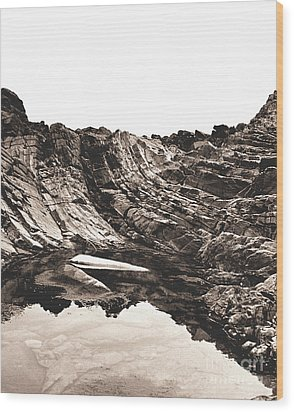 Rock - Sepia Detail Wood Print by Rebecca Harman