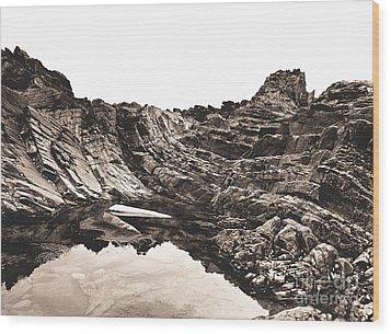 Rock - Sepia Wood Print by Rebecca Harman