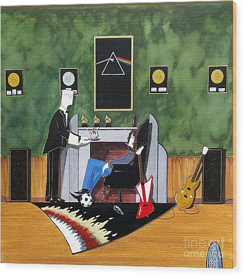 Rock Star Sitting In Chair Served A Sundae By Butler Wood Print by John Lyes