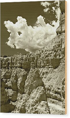 Wood Print featuring the photograph Rock Wall And Sky by Pete Hellmann
