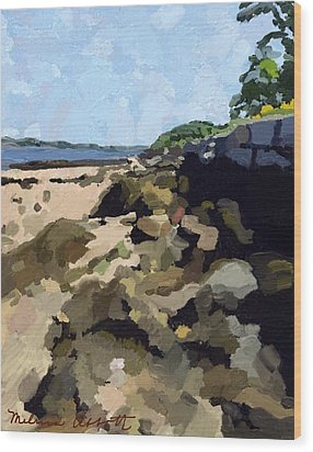 Rock Wall Looking South On Ten Pound Island, Gloucester, Ma Wood Print