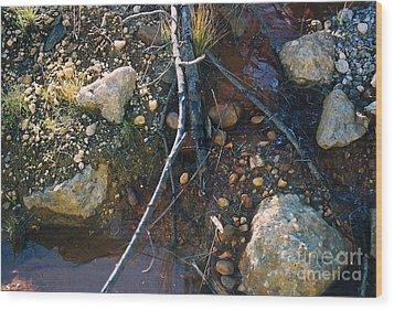 Rock Water Lake Wood Print by Simonne Mina