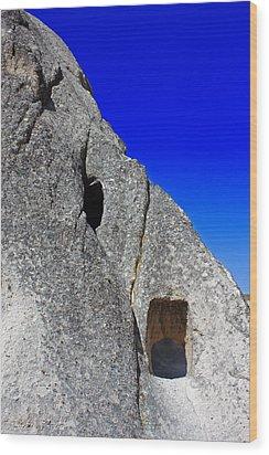 Rock Window Wood Print by Angela Siener