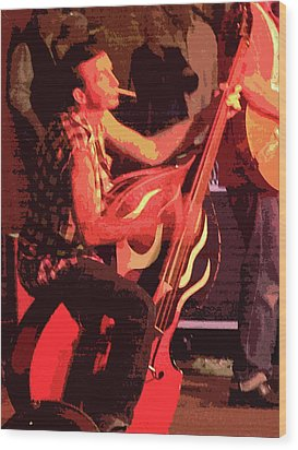 Rockabilly Bass Player Wood Print by Andy Jeter
