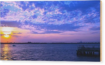 Rockaway Point Dock Sunset Violet Orange Wood Print by Maureen E Ritter