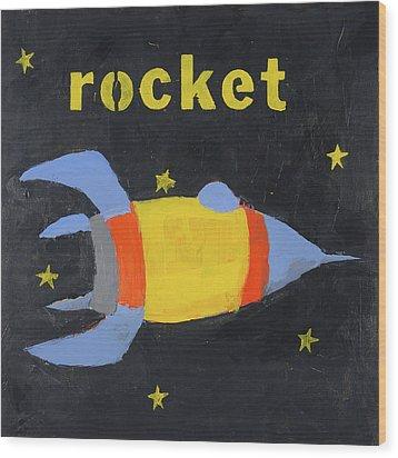 Rocket Wood Print by Laurie Breen