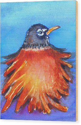 Wood Print featuring the painting Rockin Robin by Patricia Piffath
