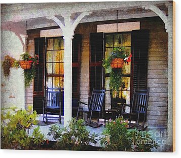 Rocking Chairs On A Country Porch  Wood Print by Janine Riley