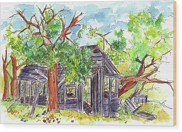 Wood Print featuring the painting Rockland Cabin by Cathie Richardson