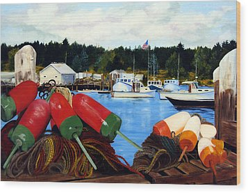 Rockland Harbor Wood Print by Laura Tasheiko