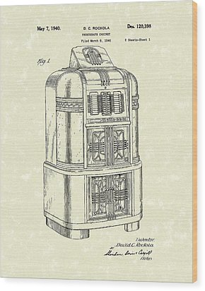 Rockola Phonograph Cabinet 1940 Patent Art Wood Print by Prior Art Design