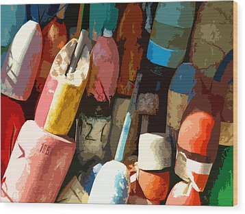 Rockport Buoys Wood Print