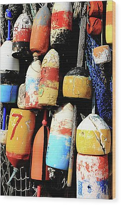 Rockport Buoys Wood Print by Lou Ford