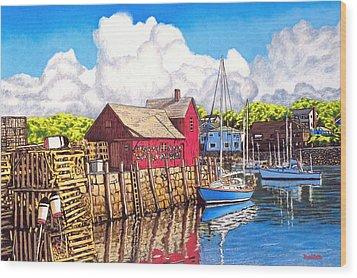 Rockport Cove Wood Print by David Linton