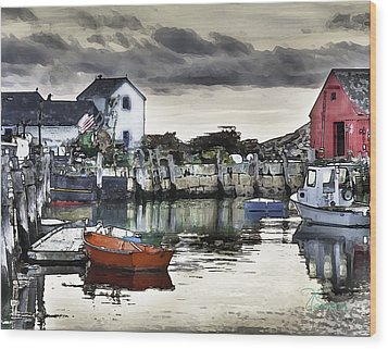 Wood Print featuring the photograph Rockport Harbor Early Morning by Tom Cameron