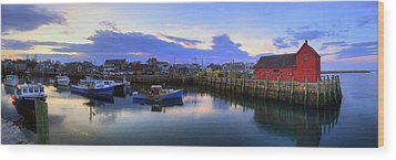 Wood Print featuring the photograph Rockport Harbor Sunset Panoramic With Motif No1 by Joann Vitali