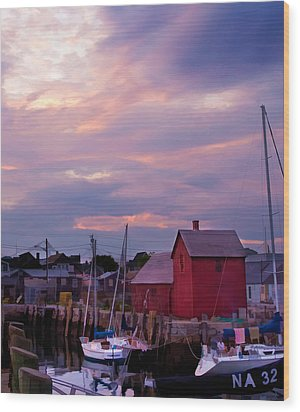Wood Print featuring the photograph Rockport Sunset Over Motif #1 by Jeff Folger