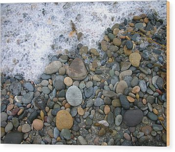 Rocks And Pebbles Wood Print by Stephanie Troxell
