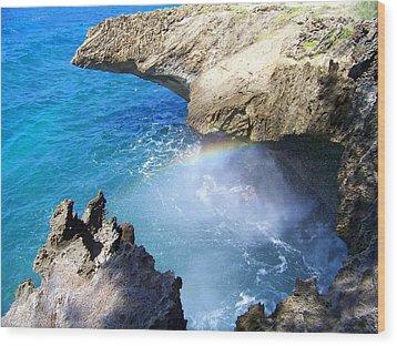 Rocks And Rainbow Wood Print
