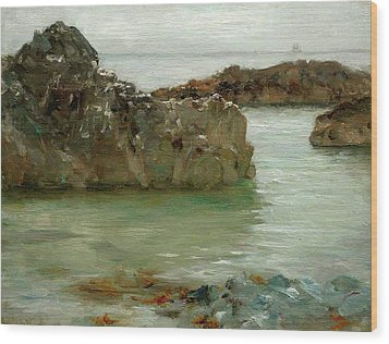Wood Print featuring the painting Rocks At Newport by Henry Scott Tuke