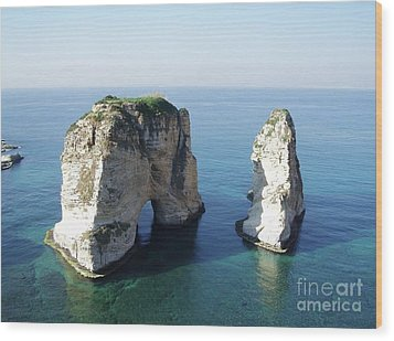 Rocks In Sea Wood Print