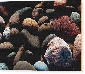 Rocks Of Lake Superior Wood Print by Bridget Johnson