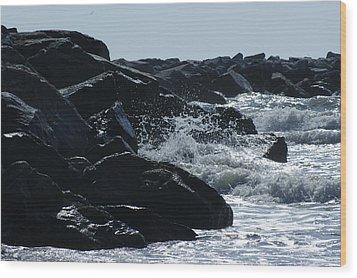 Rocks On The Jetti At Cocoa Beach Wood Print