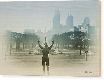 Rocky At The Top Of The Steps Wood Print by Bill Cannon