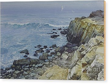 Wood Print featuring the painting Rocky Beach by Sergey Zhiboedov