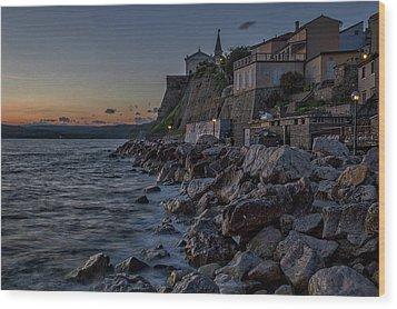 Wood Print featuring the photograph Rocky Coast At Dawn - Piran - Slovenia by Stuart Litoff