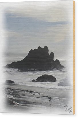 Wood Print featuring the painting Rocky Coast Newport Oregon by Shelley Bain