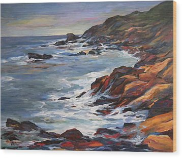 Rocky Coast Wood Print by Pati Maguire