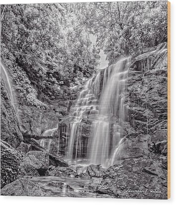 Wood Print featuring the photograph Rocky Falls - Bw by Christopher Holmes