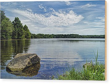 Rocky Fork Lake Wood Print by Cricket Hackmann