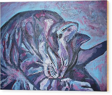 Rocky In Blue Wood Print by Sarah Crumpler