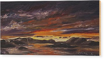 Wood Print featuring the painting Rocky Landscape by Diane Daigle