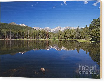 Rocky Mountain Lake In A Colorado National Park Wood Print by ELITE IMAGE photography By Chad McDermott