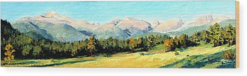 Rocky Mountain Panoramic Wood Print by Mary Giacomini