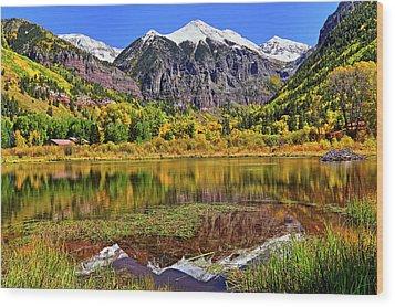 Rocky Mountain Reflections - Telluride - Colorado Wood Print by Jason Politte